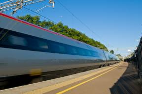 Image of a fast moving train