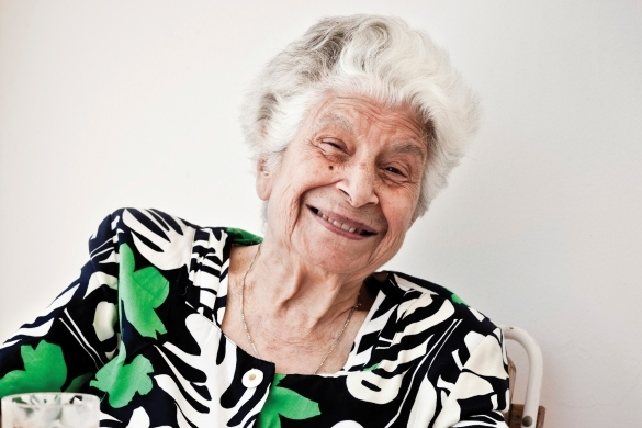 Elderly lady smiling at the camera